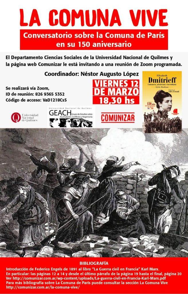 12/3, 18,30 - Conversatorio sobre la Comuna de París